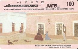 13 TARJETA MAGNETICA DE URUGUAY DE PINTURA PARTE TRASERA PLATEADA (FIGARI) PAINTING - Uruguay