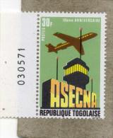 TOGO : 10 Ans De L´ASECNA (Agenge De Sécurité De Navigation Aérienne) : Avion, Tour De Contrôle - - Togo (1960-...)