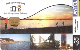 Nº 284 TARJETA DE URUGUAY DE 150 ANIVERSARIO SAN GREGORIO DE POLANCO (SUNSET) - Uruguay