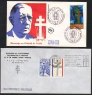 GENERAL DE GAULLE - FRANCE / 1971-1977  - 2 DOCUMENTS (ref 5893) - De Gaulle (Generale)