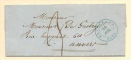 CARTA BRUSELAS A ANVERS CON PORTEO MANUSCRISTO Y FECHADOR BRUSELAS 24/7/1848 EN VERDE - 1830-1849 (Belgique Indépendante)
