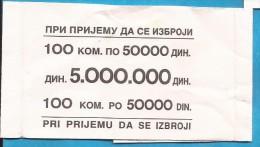 1993   KNIN BANKA  KROATIEN CROAZIA HRVATSKA SRPSKA KRAJINA JUGOSLAWIEN JUGOSLAVIJA  RRR KONTROL KUPON RRR RARYTI - Billets