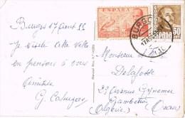 10684. Postal Aerea BURGOS 1955 A Oran (Algerie) - 1931-Hoy: 2ª República - ... Juan Carlos I