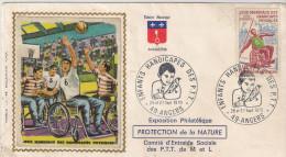 Enveloppe Philatélique  Jeux Mondiaux Des Handicapés Physiques.  St Etienne 1970 - PTT Angers - Handisport