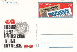 "Polen 1984. Ganzsachenkarte 40 Jahre Zeitungen ""Na Strazy Demokracji"" U. ""Wstuzbie Narodu"". Presse (4.307) - 1944-.... Republik"