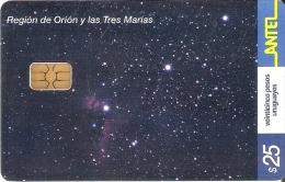 Nº 260 TARJETA DE URUGUAY DE ORION Y LAS TRES MARIAS - Astronomie