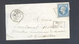 FINISTERE 29 MORLAIX LSC Tad Type 15 Du 26 Septembre 1858 PC 2164 Sur N° 14  Timbre APRES LE DEPART TB - Marcophilie (Lettres)