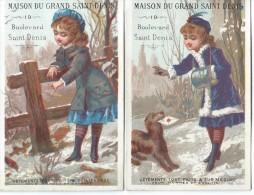 Maison Du Grand Saint Denis/2 Chromos/Vêtements/  BD St Denis/ Paris /Vers 1885      IM698 - Cromos