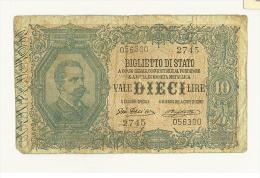 CARTAMONETA - 10 LIRE - VITTORIO EMANUELE - DECR. 11/10/1915  - BS. 17D GIGANTE #2745 - 056300 - (R) - [ 1] …-1946 : Kingdom
