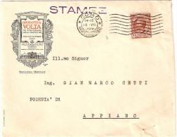 """BUSTA INTESTATA """"ONORANZE A VOLTA NEL 1°CENTENARIO DELLA MORTE MAGGIO OTTOBRE 1927 VILLA OLMO -COMO SEGRETERIA GENERALE"""" - Storia Postale"""