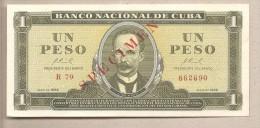 Cuba - banconota non circolata FDS Specimen da 1 Peso - 1966