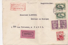 LITUANIE  LETTRE RECOMMANDEE  1944  CACHET D'ARRIVEE