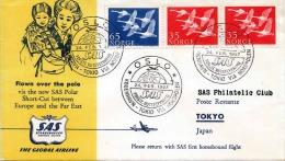 SAS Brief NORWEGEN 1957 - 3 Fach Frankiert, Gel.v. Norge Oslo > Nordpol > Tokyo Japan - Luftpost