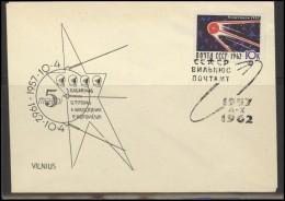 RUSSIA USSR Private Envelope LITHUANIA VILNIUS VNO-klub-040 Space Exploration Satellite Popovich Titov Nikolaev - 1923-1991 USSR