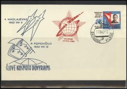 RUSSIA USSR Private Envelope LITHUANIA VILNIUS VNO-klub-041 Space Exploration Vostok-2 Vostok-3 Nikolaev Popovich - 1923-1991 USSR