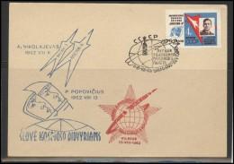RUSSIA USSR Private Envelope LITHUANIA VILNIUS VNO-klub-052 Space Exploration Vostok-3 Vostok-4 Anniversary - 1923-1991 USSR