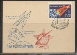 RUSSIA USSR Private Envelope LITHUANIA VILNIUS VNO-klub-054 Space Exploration Vostok-3 Vostok-4 Anniversary - 1923-1991 USSR