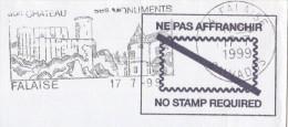 1999 COVER FRANCE SLOGAN Pmk Illus FALAISE CASTLE Pre Paid Stamps Castles - Castles