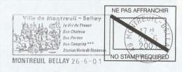 2001 COVER FRANCE SLOGAN Pmk Illus MONTREUIL BELLAY  CASTLE Pre Paid Stamps Castles - Castles