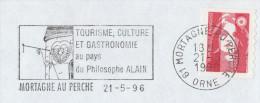 1996  COVER Mortague FRANCE SLOGAN Pmk ALAIN Philospher PHILOSPHY Pre Paid Stamps - Sciences