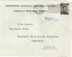 """FRONTESPIZIO INTESTATO """"FEDERAZIONE GINNASTICA NAZIONALE ITALIANA CONSIGLIO SEZIONALE VENETO"""" """" - Marcophilie"""