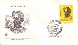 SOBRE ARGENTINA: DÍA DE LA RAZA DON QUIJOTE POR IGNACIO ZULOAGA CIRCULO FILATELICO DE LINIERS AÑO 1975 TBE FDC GECKO