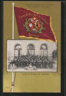 AK Geneve, Concours International De Musique 1902, Corps De Musique De Landwehr, Fahne - GE Genève