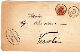 1899  LETTERA CON ANNULLO PALIANO FROSINONE - 1878-00 Humbert I.