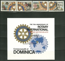 "Dominica    ""Rotary International""    Set & Souv. Sheet     SC# 659-63   MNH**"
