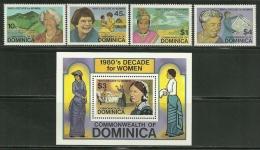"Dominica    ""Famous Women""    Set & Souv. Sheet     SC# 758-62   MNH**"
