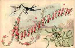 Anniversaire 7, Ecrit En Fleurs, Gui Hirondelle 1919 - Anniversaire