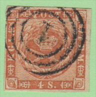 "DEN SC #7  1858 Royal Emblems ""1"" (Kjobenhavn) In Conc. Circs., 4 Margins, CV $8.50 - 1851-63 (Frederik VII)"