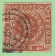 "DEN SC #7a  1858 Royal Emblems ""48"" (Nykjobing, Jylland) In Conc. Circs., 4 Margins, CV $8.00 - 1851-63 (Frederik VII)"