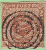 DEN SC #7a  1858 Royal Emblems Target Cancel, 4 Margins, CV $8.00 - 1851-63 (Frederik VII)