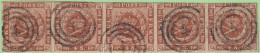 "DEN SC #7a  1858 Royal Emblems Strip/5 ""4"" (Aalborg) In Conc. Circs. W/~5mm Tear Betw 1st 2 Stamps (@B) - 1851-63 (Frederik VII)"