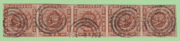 """DEN SC #7a  1858 Royal Emblems Strip/5 """"4"""" (Aalborg) In Conc. Circs. W/~5mm Tear Betw 1st 2 Stamps (@B) - Used Stamps"""