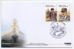 50 Aniv. Visite De Charles De Gaulle à L'Uruguay Enveloppe FDC Militaire Navire De Guerre Seconde Guerre Mondiale - De Gaulle (Generaal)