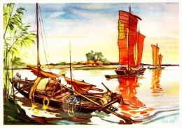 SANELLA Sammelwerk Bild Nr. 56 Dschunken Auf Dem Kaiserkanal (China - Tibet - Japan) - Stickers