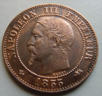 2 Centimes 1855 Grand D Ancre Grand Lion - Francia
