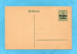 BELGIQUE Carte Entier Postal Allemand -typa Germania  Surchargé 5cent BELGEN - German Occupation