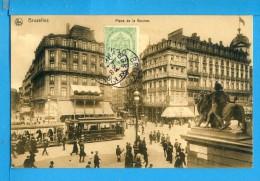 CP, BRUXELLES, Place De La Bourse, Voyagé En 1908, Ed NELS Série Bruxelles N° 254 - Piazze