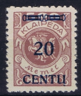 Deutschland Memel 1923 Mi Nr 171 B 3    MH/*   Cat Value  585 Euro - Memelgebiet