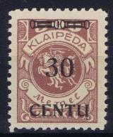 Deutschland Memel 1923 Mi Nr 171 B IV    MNH/**  Cat Value  300 Euro - Klaipeda