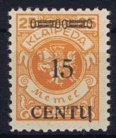 Deutschland Memel 1923 Mi Nr 170 B II    MNH/**  Cat Value  185 Euro - Memelgebiet