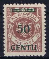 Deutschland Memel 1923 Mi Nr 173 B I   MNH/**  Cat Value  250 Euro - Memelgebiet