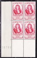 Journ�e du timbre 1947 bloc de 4 en coin feuille num�rot�  26791 neuf n�779 Michel Le Tellier, Marquis de Louvois