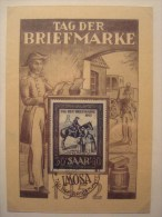 CHEVAUX . SARRE N° 303 SUR CARTE JOURNEE DU TIMBRE DE 1952 SARRBRÜCKEN . FACTEUR A CHEVAL - Pferde