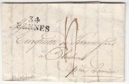 A188) LAC De 34/RENNES (Ille Et Vilaine) Pour Plombierre Le 26 Février 1825 31x11  Taxe Manuscrite, Ind 4 - Postmark Collection (Covers)