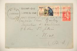 Enveloppe 1935 St-Dié -> Niort, Affr. 50c Paix YT 283 Bande Publ. L'Art Vivant, Vignette Tuberculose, OMEC Krag Cloitre - Covers & Documents