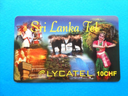 SRI LANKA TEL - Lycatel 10. CHF ( Switzerland prepaid card ) elephant GSM remote prepayee carte Suisse Schweiz Svizzera